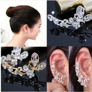 Jewelry - Crystal Butterfly Swirl Silver Ear Cuff Earrings